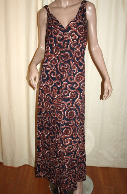 Blue with Red and White Geometric Swirls Maxi Dress by Tory Burch