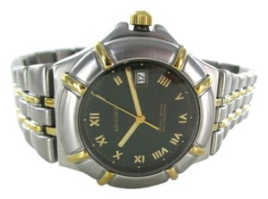 Krieger KRIEGER LUNAR 1406 WATCH TWO TONE STAINLESS STEEL & GOLD TONE DATE GENTS SWISS