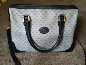 Gucci Gg Monogram Vintage Leather Pvc Satchel in Navy Blue Gray
