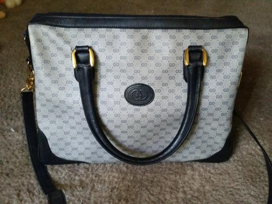 Gucci Gg Monogram Shoulder Vintage Leather Pvc Satchel in Navy Blue Gray
