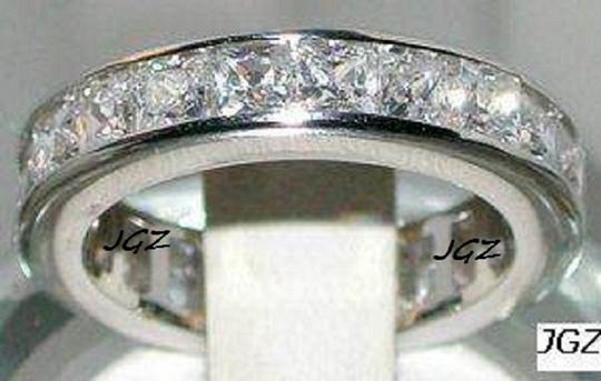 Clear Stones/925.sterling Silver Anniversary Eternity .size 7 * New Exclusive Design * Women's Wedding Band