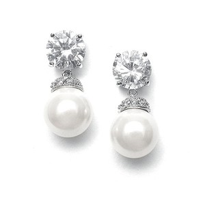 Mariell Silver Round Cz with Bold Pearl 3044e Earrings