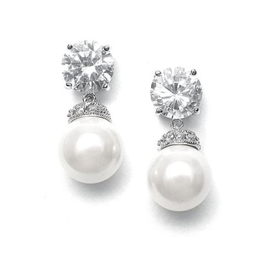 Mariell Round Cz Wedding Earrings With Bold Pearl 3044e