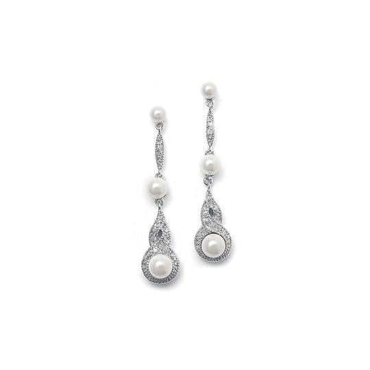 Mariell Silver Braided Cz Pave Dangle with Pearl 3050e Earrings