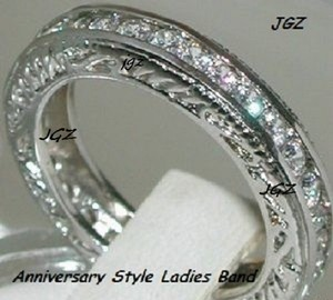 Solid 925 Sterling Silver & Rhodium Platinum Finish 1.50ct Round Brilliant Cut Anniversary Eternity Band * New Exclusive Design * Available In Size 7/8/9 Only * Ring
