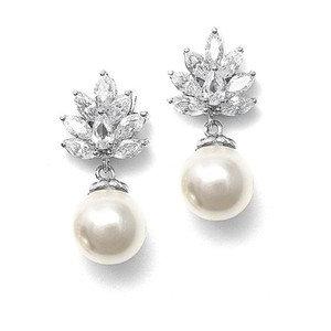 Mariell Cz Cluster Bridal Earrings With Pearl Drop 3053e
