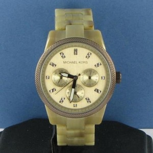 Michael Kors Michael Kors Ritz Sand Acetate Ladies Gold Crystal Dial Watch Mk5641