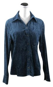 Gloria Vanderbilt Button Down Shirt Dark Turquoise