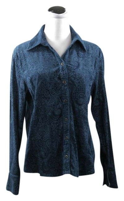 Gloria Vanderbilt Corduroy Shirt Brocade In Paisley Pattern Blue Size M New With Tags Long Sleeve Shirt Button Down Shirt Dark Turquoise