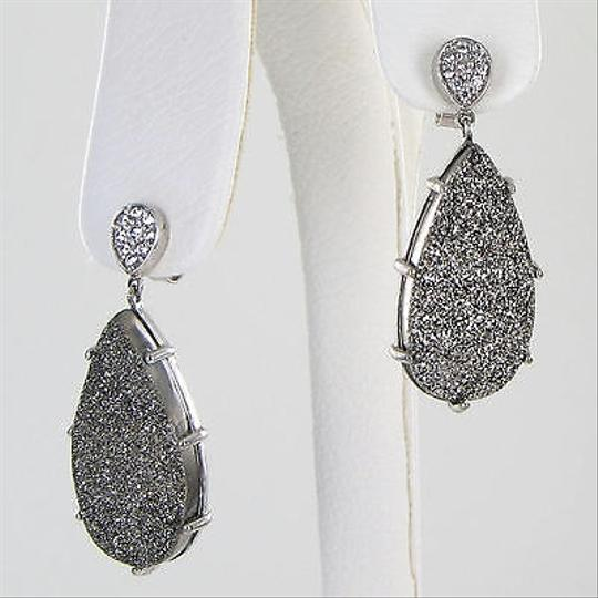 Anzie Anzie Classique Pave Earrings Dangle Gunmetal Drusy Clear Topaz 925