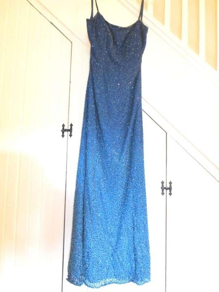 Cache Blue Teal Ombre Gown Beaded Sparkly Navy Low Back Scoop Back ...