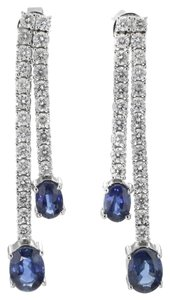 18K White Gold 3.27 Sapphire 1.93 CTTW Diamond Dangle Ladies Earrings