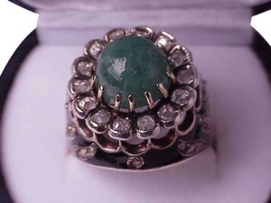 $7500 Victorian Enameled 5.82 cttw Genuine Emerald and Diamonds 14k White Gold Filigree Ring, Apppraisal Included
