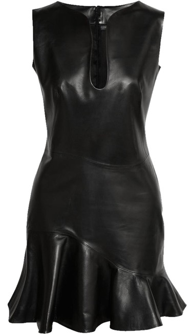 Alexander McQueen Leather Sexy Showstopping Black Dress