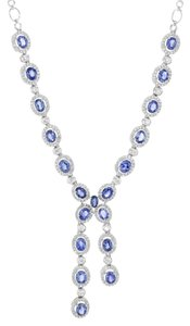18K White Gold 9.39 CT Sapphire 1.62 CT Diamonds Ladies Link Necklace