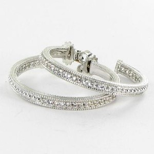 Judith Ripka Judith Ripka Ambrosia Hoop Earrings White Sapphires Sterling Silver