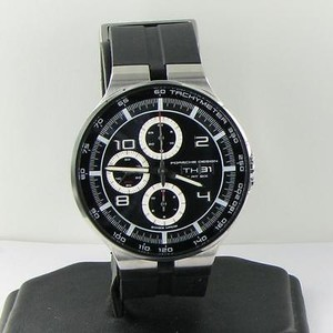 Porsche Design P6360 Flat Six Automatic Chrono Black Rubber Watch