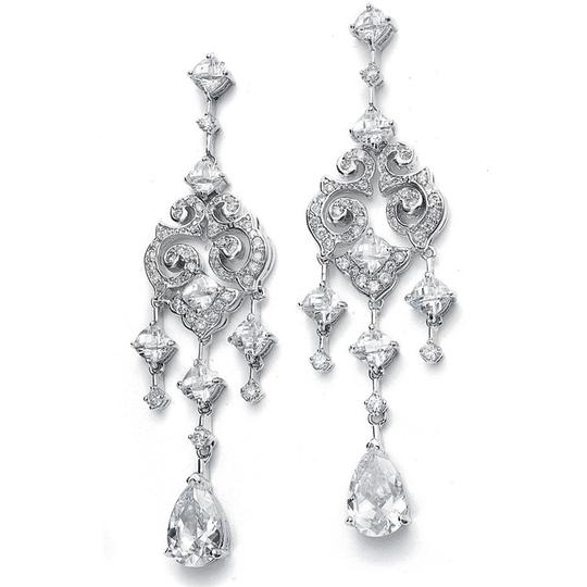 Mariell Silver Wholesale Cubic Zirconia Chandelier with Pear Dangles 696e-s Earrings