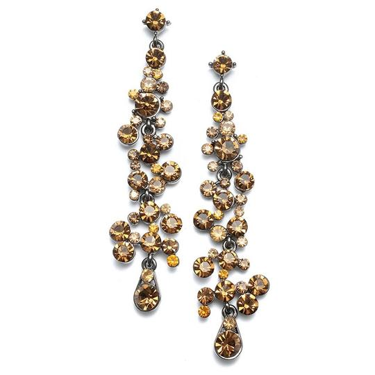 Mariell Dramatic Earrings With Cascading Smoked Topaz Bubbles 3127e-st