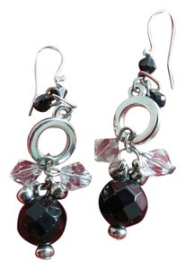 Macy's Drop Black and Clear Earrings Beaded