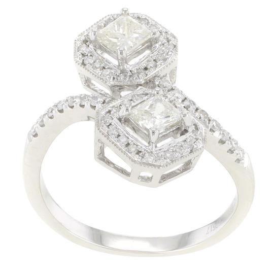 Other 18K White Gold Princess Cut 0.88CT Diamond Women's Cocktail Ring