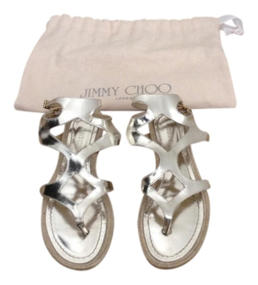 Jimmy Choo Metallic Gold Leather Sandals Gladiator Sandals Leather be582f