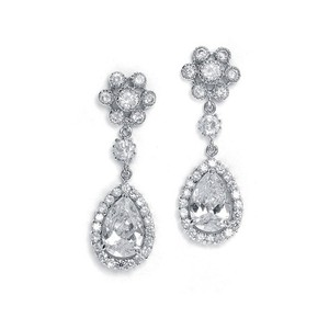 Mariell Cubic Zirconia Cluster With Pear Shaped Drop Earrings 689e-s