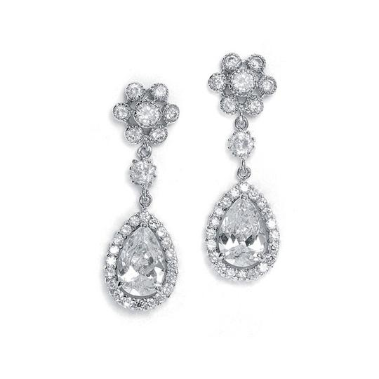 Mariell Silver Cubic Zirconia Cluster with Pear Shaped Drop 689e-s Earrings