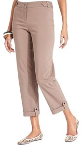 Style & Co Mid Rise Straight Leg Off-seam Pockets Tummy-control Cuffed Hem Capris Taupe