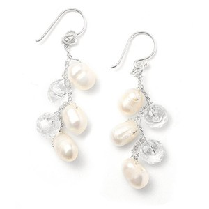 Mariell Genuine Freshwater Pearls Dangle Bridal Earrings 3132e