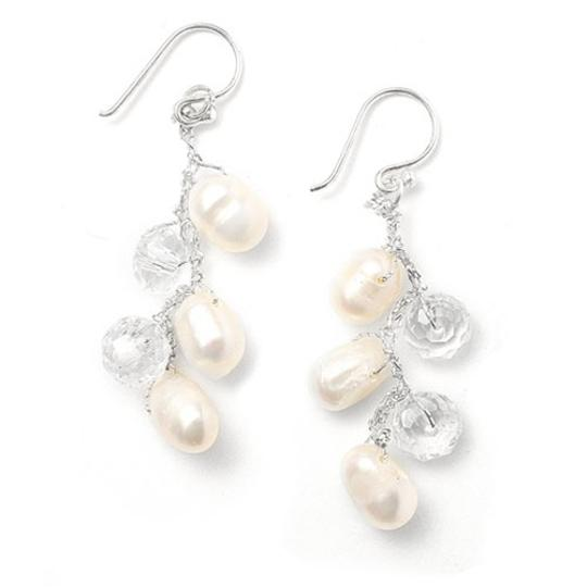 Mariell Silver/Pearl Genuine Freshwater Dangle 3132e Earrings