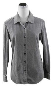 J. Jill J Corduroy Brocade Button Down Shirt Grey