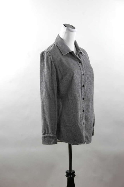 J. Jill Corduroy Brocade Shirt Tails Fitted Size Xs Floral Brocade Long Sleeve Button Down Shirt Grey