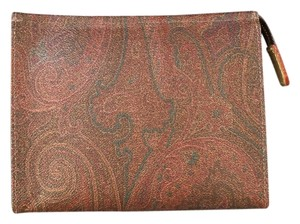 Etro Cosmetics Leather New Multi-colored Paisley Clutch