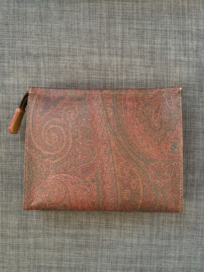 Etro Cosmetics Leather New Still In Box Multi-colored Paisley Clutch