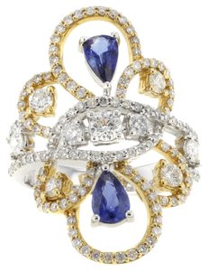 18K Yellow & White Gold 0.85CT Sapphire&1.51CT Diamond Size 7.75 Women's Cocktail Ring