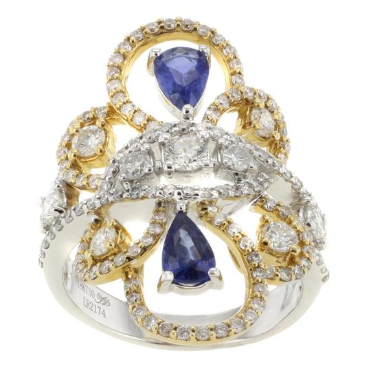 Other 18K Yellow & White Gold 0.85CT Sapphire&1.51CT Diamond Size 7.75 Women's Cocktail Ring