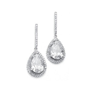 Mariell Large Cz Pear Drop Bridal Earrings With Pave Frame 342e