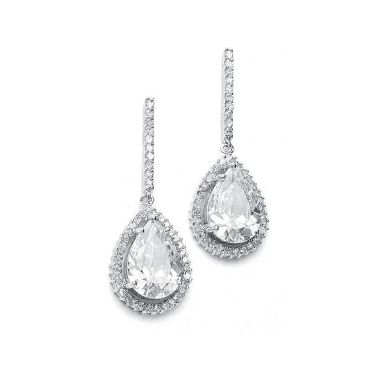 Mariell Silver Large Cz Pear Drop with Pave Frame 342e Earrings
