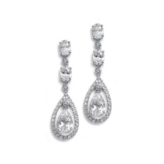 Mariell Silver Dangle with Caged Cz Pear 369e-cr Earrings