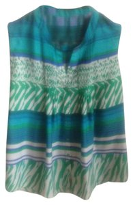 Collective Concepts Sleeveless Blue Top Blue, Green, Turquoise, White