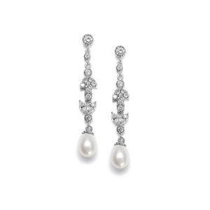 Mariell Linear Freshwater Pearl Vintage Bridal Earrings 393e