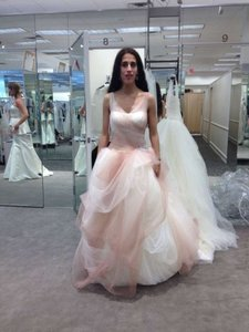 Vera Wang Ivory and Salmon Tulle Ombre Ball Gown with Pick Up Skirt Style Wv351157 Feminine Wedding Dress Size 2 (XS)