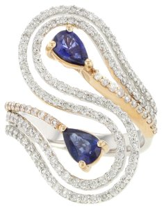 18K Rose & White Gold 0.91CT Sapphire & apx.0.99CT Diamond Women's Cocktail Ring