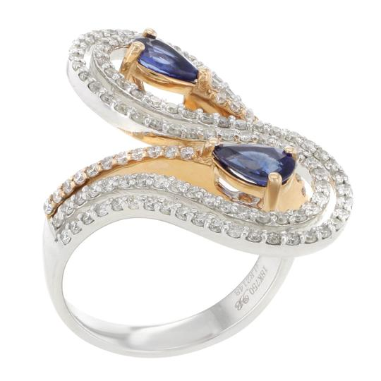Other 18K Rose & White Gold 0.91CT Sapphire & apx.0.99CT Diamond Women's Cocktail Ring