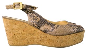 Jimmy Choo Peep Toe Wedge Sling Back Gold Cork Summer Snake Python Tan Platforms