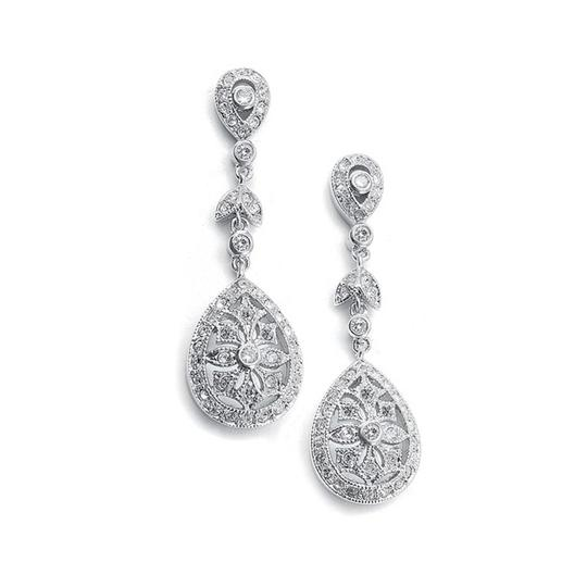 Mariell Vintage Etched Cubic Zirconia Dangle Bridal Earrings 420e