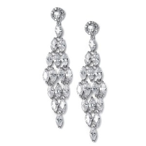 Mariell Silver Cz Chandelier with Marquis 490e Earrings