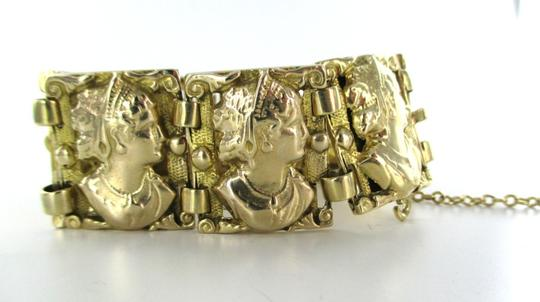 Other 14KT YELLOW GOLD BRACELET LADY FACE LINK VINTAGE 72.6 GRAMS ENGRAVED CAMEO SOLID