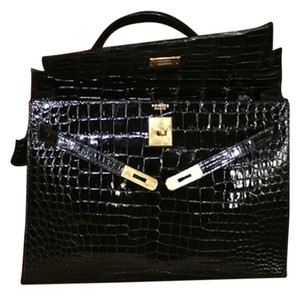 Herms Hermes Kelly 35 Crocodile Satchel in Black
